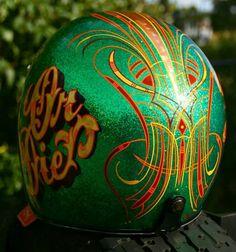 Pinstriped helmet Custom Motorcycle Helmets, Bike Helmets, Custom Helmets, Retro Helmet, Vintage Helmet, Pinstriping Designs, Helmet Paint, Gas Monkey, Sign Painting
