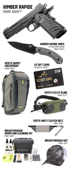 The No Shows Giveaway. VZ Grips has teamed up with Vertx, Breakthrough, Southern Grind and of Kimber to combine for a seriously nice give away to one lucky customer. For more details visit the link below to enter. Kimber 1911, 1911 Grips, Ammo Cans, Cleaning Kit, Hand Guns, Giveaway, Southern, Nice, 1911 Kimber