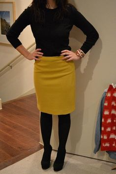 winter chic. love the yellow pencil skirt and black turtleneck with black tights and black shoes | followpics.co