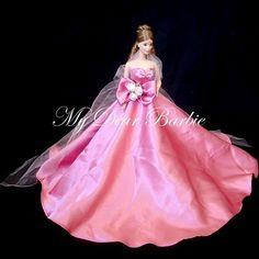 Pink bride / bridesmaid / princess gown #wedding