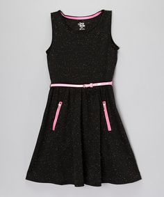 Another great find on #zulily! Black Speckled Dress & Belt - Girls #zulilyfinds