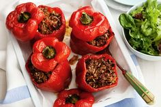 Capsicum makes a sweet, tasty container for the Greek-style beef mince filling.