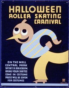 Vintage Halloween Ephemera ~ Halloween Roller Skating Carnival Advertising Poster ©1936