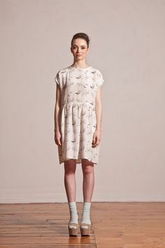 Hand Drawn Bird Print Dress.