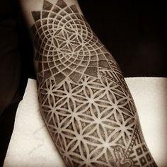 sacred geometry half-sleeve in progress.