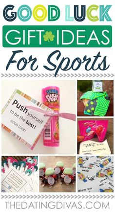 Whether it's good luck cards or fun good luck gift ideas, we have OVER 100 of the cutest and most creative ideas to wish someone good luck! Dance Team Gifts, Dance Good Luck Gifts, Swim Team Gifts, Cheer Team Gifts, Cute Cheer Gifts, Cheer Gift Bags, Gift Tags, Soccer Gifts, Diy Volleyball Gifts