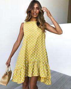 Polka Dot Summer Dresses, Cheap Summer Dresses, Summer Dresses For Women, Dress Summer, Dot Dress, Ruffle Dress, Draped Dress, Smock Dress, Tank Dress