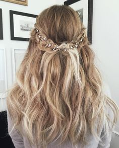 Lauren Conrad Blonde Ombre Half Up Half Down Wavy Long Hairstyle with Braided Crown and Jeweled Hair Accessory