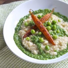 Risotto with Spring Pea Pesto & Roasted Carrots | Dinner Vine