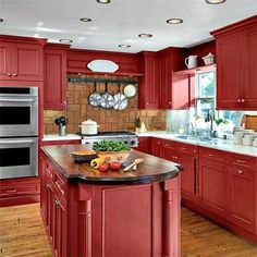 never thought of red cabinets, but i.never thought of red cabinets, but it looks pretty here. Red Kitchen Cabinets, Chalk Paint Kitchen Cabinets, Kitchen Cabinet Colors, Kitchen Paint, Kitchen Colors, New Kitchen, Kitchen Decor, Kitchen Ideas, Red Kitchen Island