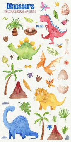 In this Dinosaurs Watercolor Clipart Set you will find 40 hand painted watercolor elements. Sheldon The Tiny Dinosaur, Cute Dinosaur, The Good Dinosaur, Hand Illustration, Watercolor Illustration, Watercolor Art, Jurassic World Poster, Dinosaur Pattern, Dinosaur Design