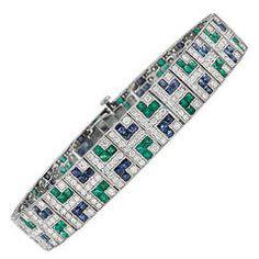 Sapphire Emerald Diamond Platinum Bracelet