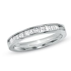 Ladies' 0.50 CT. T.W. Princess-Cut Diamond Wedding Band in 14K White Gold  - Peoples Jewellers