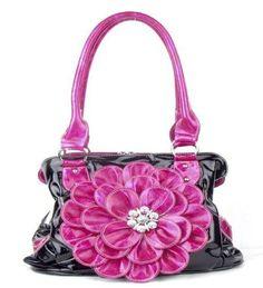 Black Pink Flower Twist Clutch Flower Rhinestone Fashion Handbag  #na #Clutch