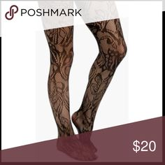 Black fishnet / lace tights with flower design Black fishnet tights with flower design , new in the package .  trades ✔️open to offers Accessories Hosiery & Socks