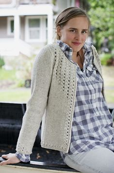 Sullivan from Brooklyn Tweed: Women's cardigan with finished chest circumference of (32, 34.75, 37.25, 40) (42.75, 45.25, 48) (50.75, 53.25, 56)-inches.  You will need (7, 7, 8, 8) (9, 9, 10) (10, 11, 12) skeins of Brooklyn Tweed Shelter, one 32-inch circular needle and set of double pointed needles in US 8 OR size needle to obtain gauge, and one 32-inch circular needle three sizes smaller than gauge needle.  Gauge is 18 stitches and 28 rows = 4 inches in stockinette stitch. $9.25