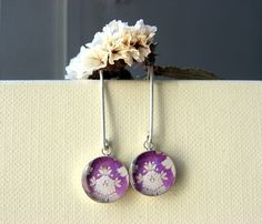 Sterling silver round earrings - Purple and white flower