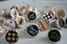 GRADUATION - Printable Candy Stickers - Gold and Black - Kiss Stickers - Kiss Labels - Class of 2012 - DIY Graduation Collection