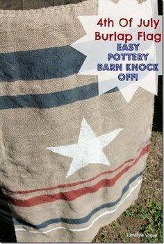 DIY: 4th Of July Burlap Flag (Pottery Barn Knock-Off)