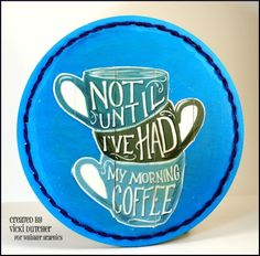 Awesome Mod Podge Coffee Mug Decor accented by new Bucilla String Creations stitching!