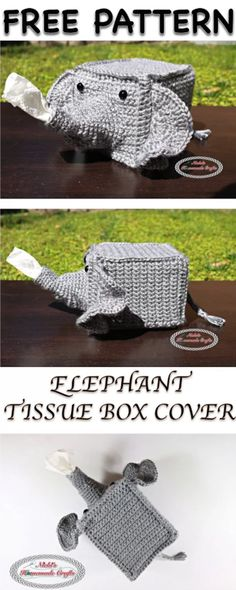 [Free Crochet Pattern] Adorable Elephant Tissue Box Cover To Add A Touch Of Glitz To Your Home