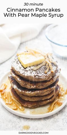 Cinnamon Pancakes with Pear Maple Syrup are a light and fluffy gluten free and vegan pancake recipe! This healthy breakfast gets smothered in a 10 minute holiday spiced syrup.