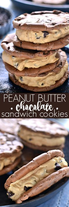 These Peanut Butter-Filled Chocolate Sandwich Cookies are the perfect pairing of two favorite flavors. Chewy chocolatey cookies meet creamy peanut butter frosting in these deliciously dreamy sandwich cookies! Peanut Butter Sandwich Cookie Recipe, Peanut Butter Filling, Peanut Butter Desserts, Butter Frosting, Chocolate Peanut Butter, Cake Filling Recipes, Cookie Recipes, Dessert Recipes, Just Desserts