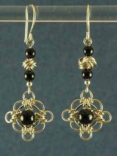 black onyx celtic filigree earrings