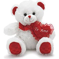 "Valentine's Day Plush ""Te Amo"" White Bear with Red Heart"