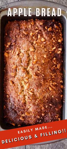 Apple bread is incredible stuff. It's perfect warm out of the oven or cold out of the fridge. It's great with butter or jam or even nut butter and makes a wonderful breakfast, snack or dessert. Clean Eating Vegetarian, Clean Eating Grocery List, Clean Eating Recipes For Weight Loss, Clean Eating Recipes For Dinner, Clean Eating Desserts, Clean Eating Breakfast, Clean Eating Meal Plan, Vegetarian Recipes, Apple Recipes