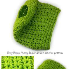 Easy Peasy Messy Bun Hat crochet pattern by Celina Lane, SimplyCollectibleCrochet.com
