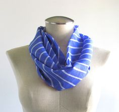 Blue Striped Infinity Scarf  Blue Circle Scarf  by EyeCandy395, $18.00