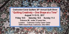 Coshocton Canal Quilters guild was established in 1987.  Located in Coshocton Ohio on StRoute 16. Home of Roscoe Village. Annual Quilt Show.  Over 100 members. NQA Chapter Member. We love sharing our quilts & projects. We have montly meetings & quilt bees.  Once a year Getaway, Opportunity Quilt & bus trips. Make quilts for local veterans & the hospital, etc.  https://sites.google.com/site/coshoctoncanalquilters/coshocton-quilt-show