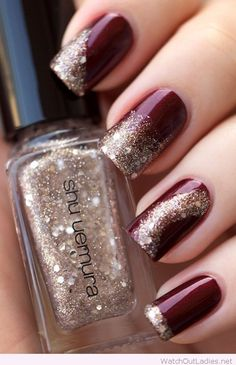 Burgundy and gold glitter Christmas nails