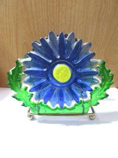 Vintage Blue  Yellow and Green Daisy Flower Resin Napkin or Letter Holder Jul…