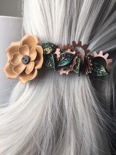 Flower Hair Accessories For Women – Western Hair Barette – Steampunk Hair Clip Woman by ArcanumByAerrowae | Smoked Glass Goggles