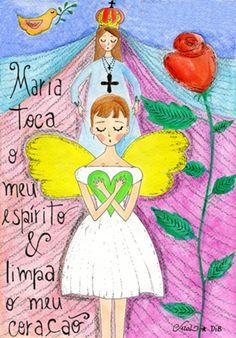 Maria toca o meu espírito e limpa o meu coração - poster FINE ART Sementinhas Cor-de-Rosa por Carol Dib na Colab55.