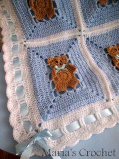 Crochet Pattern Afghan Blanket teddy bear UK by mariascrochet21
