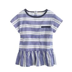 Crew for the Girls' linen peplum top in multistripe. Find the best selection of Girls Shirts & Tops available in-stores and online. Italian Leather Shoes, J Crew Men, Blouse And Skirt, Tailored Suits, Cashmere Sweaters, Shirts For Girls, Shirt Blouses, Kids Fashion, Girls Dresses