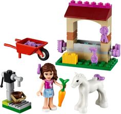 LEGO Friends - Olivia's Newborn Foal and thousands more of the very best toys at Fat Brain Toys. Olivia's Newborn Foal needs lots of special care. Be sure this baby horse has plenty to drink. Legos, Lego Friends Sets, Lego Toys, Lego Lego, Lego Ninjago, Building Blocks Toys, Buy Lego, Farm Theme, Lego Parts