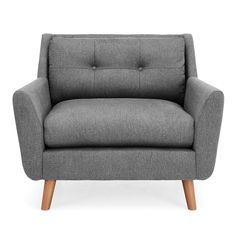 Dunelm Halston Fabric Snuggler Grey - Modern Winged Armchair - Spring Cushioned Seat - Button Back Detailing - Contemporary Angled Wooden Legs Winged Armchair, Grey Armchair, Living Room Decor Orange, New Furniture, Soft Furnishings, Interior Design Inspiration, Snuggles, Seat Cushions, Love Seat