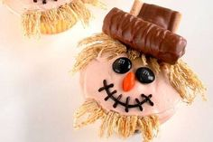 Scarecrow cupcakes..use shredded wheat and M's and mini Twix bars and whatever type of cookie and frosting!