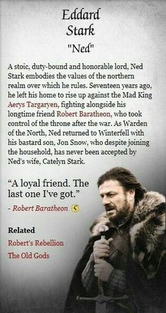 Ned Stark - Game of Thrones Eddard Stark, Ned Stark, Winter Is Here, Winter Is Coming, Familia Stark, Plus Tv, Got Game Of Thrones, The North Remembers, Movies