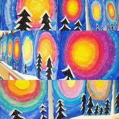 Von @froschklasse inspiriert, hat meine Klasse ebenfalls diese tollen Winterbilder gestaltet! #kunstindergrundschule #winterwald #grundschule #lehrerleben #grundschulkunst