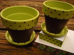 painting flower pots | Teacher Gift - Hand Painted Flower Pot - Brown and Green with Polka ...