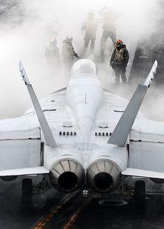 F-18 Hornet, carrier flight deck operations