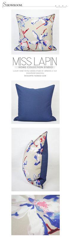 MISS LAPIN/北欧极简/沙发床头/靠包抱枕/蓝色花卉印花方枕-淘宝网