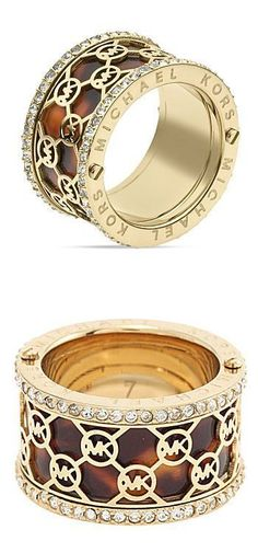 Michael Kors Monogram-Cutout Tortoise Ring