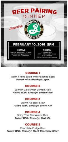Edith + Arthur Presents The Brooklyn Brewery Craft Beer Pairing Dinner