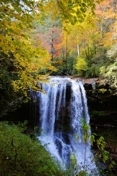 Dry Falls, waterfall in Highlands NC in fall color: http://www.romanticasheville.com/dry_falls.htm
